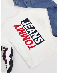 Tommy Hilfiger – T-Shirt mit Kontrast-Logo hinten - Weiß