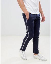 HUGO - Franz Side Zip Slim Fit Trousers In Navy - Lyst