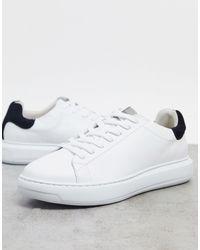 SELECTED Кожаные Премиум-кроссовки С Массивной Подошвой И Контрастным Задником -белый