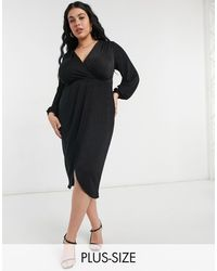 Closet London Plus Twist Wrap Front Jersey Wrap Dress - Black