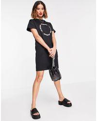 Love Moschino - Черное Платье С Короткими Рукавами И Круглым Логотипом -черный - Lyst