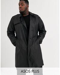 ASOS Plus – Zweireihiger Trenchcoat aus schwarzem PU
