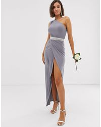 Club L London One Shoulder Embellished Belt Bridesmaid Maxi Dress - Grey