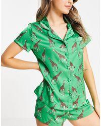 Bluebella Feria Satin Giraffe Print Short Revere Pyjama Set - Green