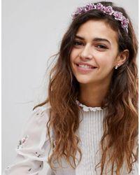 ASOS - Metallic Floral Headband - Lyst