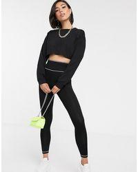 ASOS legging With Deep Waistband & Contrast Stitch - Black
