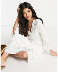 ASOS Casual Embroidered Maxi Dress With Lace Inserts - White