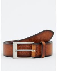 ASOS - Leather Slim Belt In Tan With Edge Emboss - Lyst