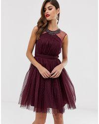 Little Mistress Mesh Detail Skater Dress With Neck Detail - Purple