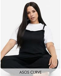 ASOS Asos Design Curve Lounge Jersey Dungaree Jumpsuit - Black