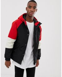 Bershka - Hooded Jacket In Black With Red Colour Blocking - Lyst