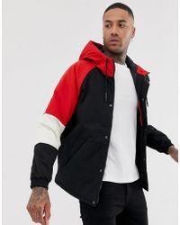 negro color en rojo Chaqueta capucha block con uTc3FlJK1