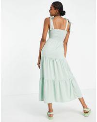 New Look Tie Shoulder Tiered Midi Dress - Green