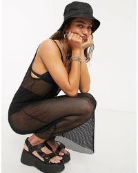 Monki Nat Midi Net Dress - Black
