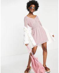 Abercrombie & Fitch Vestido con estampado floral y mangas globo - Rosa