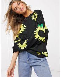 Daisy Street – Oversize-Strickpullover mit Sonnenblumen - Schwarz