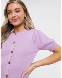 Daisy Street Button-front Top With Puffed Sleeves - Purple