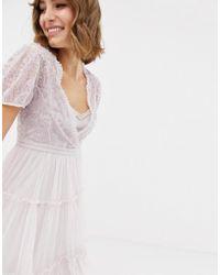 In saldo Needle   Thread - Vestito midi in tulle ricamato con maniche ad  aletta lavanda - Lyst ba7e5441574
