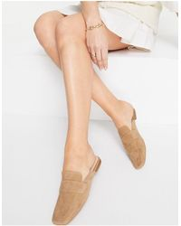 Office Square Toe Loafer Mule - Natural