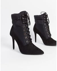 Call It Spring Onorecia Stiletto Boots With Quilted Collar - Black