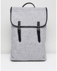 ASOS - Backpack In Grey Textured Fabric With Double Strap - Lyst