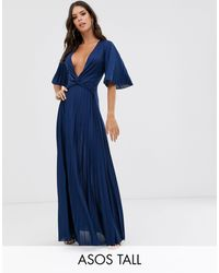 ASOS Asos Design Tall Twist Detail Pleated Kimono Maxi Dress - Blue
