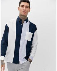 ASOS Oversized Oxford Overhemd Met Herstelde Patches - Blauw