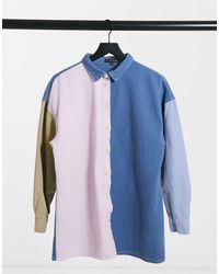 In The Style X Olivia Bowen Contrast Collar Shirt - Blue