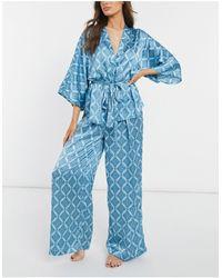 ASOS Premium Tile Satin Waist Tie Shirt & Pants Pyjama Suit Set - Blue