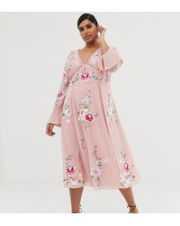 ASOS - Asos Design Curve Embroidered Midi Dress With Lace Trims - Lyst