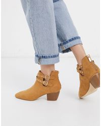 Oasis Suedette Heeled Boots With Cut Out Buckle Details - Multicolour