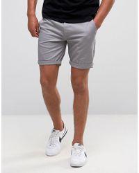 ASOS - Asos Slim Chino Shorts In Light Grey - Lyst