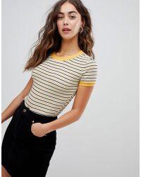 Glamorous - Body In Fine Stripe With Ringer Collar - Lyst