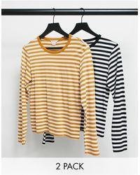 Monki Ursula Organic Blend Cotton 2 Pack Long Sleeve T-shirt - Multicolor