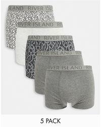 River Island 5 Pack Hipster Trunks - Gray