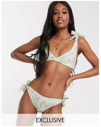 Miss Selfridge Tie Shoulder Bikini Top - Green