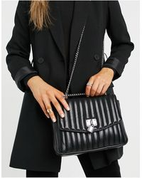 ASOS Quilted Cross Body Bag With Padlock Detail - Black