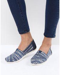 TOMS - Navy Batik Alpargata Shoes - Lyst