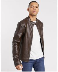ASOS Faux Leather Racer Jacket - Brown
