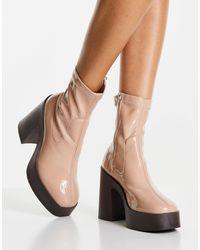 ASOS Botas beis estilo calcetín con tacón alto - Multicolor