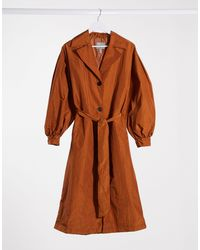 ASOS Trench-coat en taffetas à manches ballon - Rouille - Orange