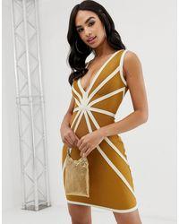 The Girlcode – Tief ausgeschnittenes Bandagen-Kleid mit abgesetzter Paspelierung - Mehrfarbig