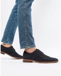 New Look - Faux Suede Brogue In Navy - Lyst