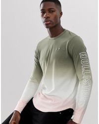 Hollister Long Sleeve Top In Green To Pink Dip Dye With Sleeve Logo