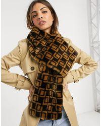 ASOS Monogram Faux Fur Scarf - Brown