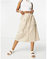 Vila Button Through Midi Skirt With Pockets - Natural