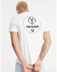 True Religion Camiseta blanca con logo estampado en la espalda - Blanco