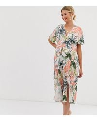 0ee80a1e65d3 ASOS Ditsy Print Midi Shirred Bardot Sundress With Matching Scrunchie in  Blue - Lyst