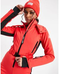 ASOS 4505 Ski Fitted Belted Ski Suit With Hood And Side Stripe - Red