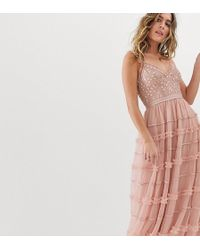 Needle & Thread - Vestido largo con tirantes finos y bordados en rosa t de - Lyst